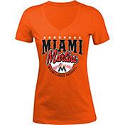 5th & Ocean Women's Miami Marlins Orange V-Neck T-Shirt