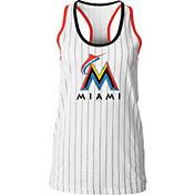 5th & Ocean Women's Miami Marlins Pinstripe White Tank