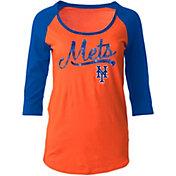5th & Ocean Women's New York Mets Orange Three-Quarter Sleeve Shirt