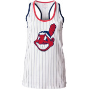 5th & Ocean Women's Cleveland Indians Opening Night White Pinstripe Tank