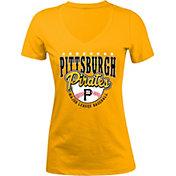 5th & Ocean Women's Pittsburgh Pirates Gold V-Neck T-Shirt