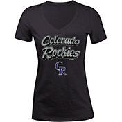 5th & Ocean Women's Colorado Rockies Black V-Neck T-Shirt