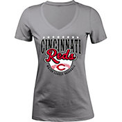 5th & Ocean Women's Cincinnati Reds Grey V-Neck T-Shirt