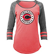 5th & Ocean Women's Cincinnati Reds Red Tri-Blend Three-Quarter Sleeve Shirt