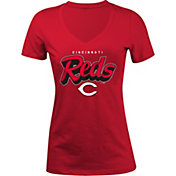 5th & Ocean Women's Cincinnati Reds Red V-Neck T-Shirt