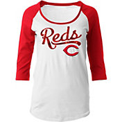 5th & Ocean Women's Cincinnati Reds White Three-Quarter Sleeve Shirt