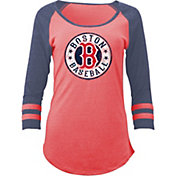 5th & Ocean Women's Boston Red Sox Red Tri-Blend Three-Quarter Sleeve Shirt