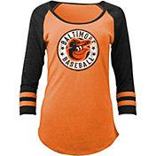 5th & Ocean Women's Baltimore Orioles Orange Tri-Blend Three-Quarter Sleeve Shirt