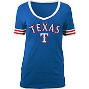 5th & Ocean Women's Texas Rangers Chenille Royal V-Neck T-Shirt