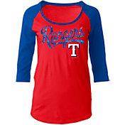 5th & Ocean Women's Texas Rangers Red Three-Quarter Sleeve Shirt
