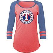 5th & Ocean Women's Texas Rangers Red Tri-Blend Three-Quarter Sleeve Shirt