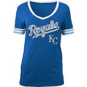 5th & Ocean Women's Kansas City Royals Chenille Royal V-Neck T-Shirt