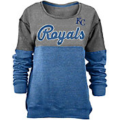 5th & Ocean Women's Kansas City Royals Grey/Royal Long Sleeve Fleece Pullover