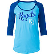 5th & Ocean Women's Kansas City Royals Light Blue Three-Quarter Sleeve Shirt
