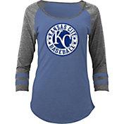 5th & Ocean Women's Kansas City Royals Royal Tri-Blend Three-Quarter Sleeve Shirt