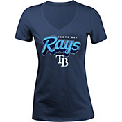 5th & Ocean Women's Tampa Bay Rays Navy V-Neck T-Shirt
