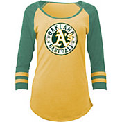 5th & Ocean Women's Oakland Athletics Gold Tri-Blend Three-Quarter Sleeve Shirt