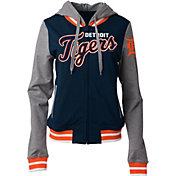 5th & Ocean Women's Detroit Tigers Navy/Grey Full-Zip Hoodie