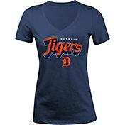 5th & Ocean Women's Detroit Tigers Navy V-Neck T-Shirt