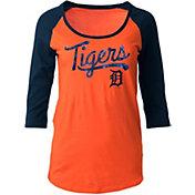 5th & Ocean Women's Detroit Tigers Orange Three-Quarter Sleeve Shirt
