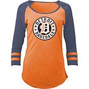 5th & Ocean Women's Detroit Tigers Orange Tri-Blend Three-Quarter Sleeve Shirt