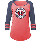 5th & Ocean Women's Minnesota Twins Red Tri-Blend Three-Quarter Sleeve Shirt