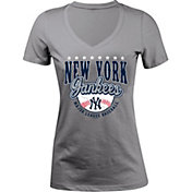 5th & Ocean Women's New York Yankees Grey V-Neck T-Shirt