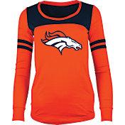 5th & Ocean Women's Denver Broncos Glitter Orange Long Sleeve Shirt
