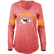 5th & Ocean Women's Kansas City Chiefs Space Dye Red Long Sleeve Shirt