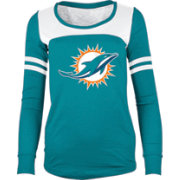 5th & Ocean Women's Miami Dolphins Glitter Aqua Long Sleeve Shirt