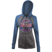 5th & Ocean Women's New York Giants Tri-Blend Foil Grey Full-Zip Hoodie