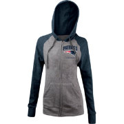5th & Ocean Women's New England Patriots Tri-Blend Grey Full-Zip Hoodie