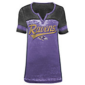5th & Ocean Women's Baltimore Ravens Burnout Purple V-Neck T-Shirt