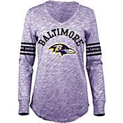 5th & Ocean Women's Baltimore Ravens Space Dye Purple Long Sleeve Shirt