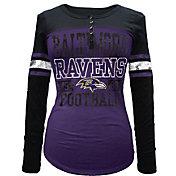 5th & Ocean Women's Baltimore Ravens Tri-Blend Henley Long Sleeve Shirt