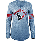 5th & Ocean Women's Houston Texans Space Dye Navy Long Sleeve Shirt