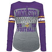 5th & Ocean Women's Minnesota Vikings Tri-Blend Henley Long Sleeve Shirt