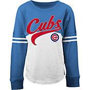 5th & Ocean Youth Girls' Chicago Cubs White/Royal Three-Quarter Sleeve Shirt