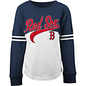5th & Ocean Youth Girls' Boston Red Sox White/Navy Three-Quarter Sleeve Shirt