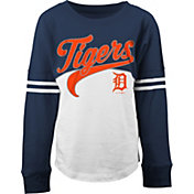 5th & Ocean Youth Girls' Detroit Tigers White/Navy Three-Quarter Sleeve Shirt