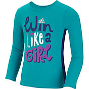 adidas Little Girls' Win Like A Girl Long Sleeve Shirt