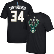 adidas Men's Milwaukee Bucks Giannis Antetokounmpo #34 climalite Black T-Shirt