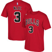adidas Men's Chicago Bulls Dwyane Wade #3 Red T-Shirt