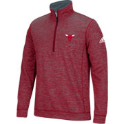 adidas Men's Chicago Bulls climawarm Team Issue Red Quarter-Zip Pullover