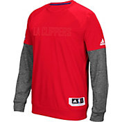 adidas Men's Los Angeles Clippers On-Court Red/Grey Long Sleeve Shooting Shirt