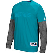adidas Men's Charlotte Hornets On-Court Teal/Grey Long Sleeve Shooting Shirt