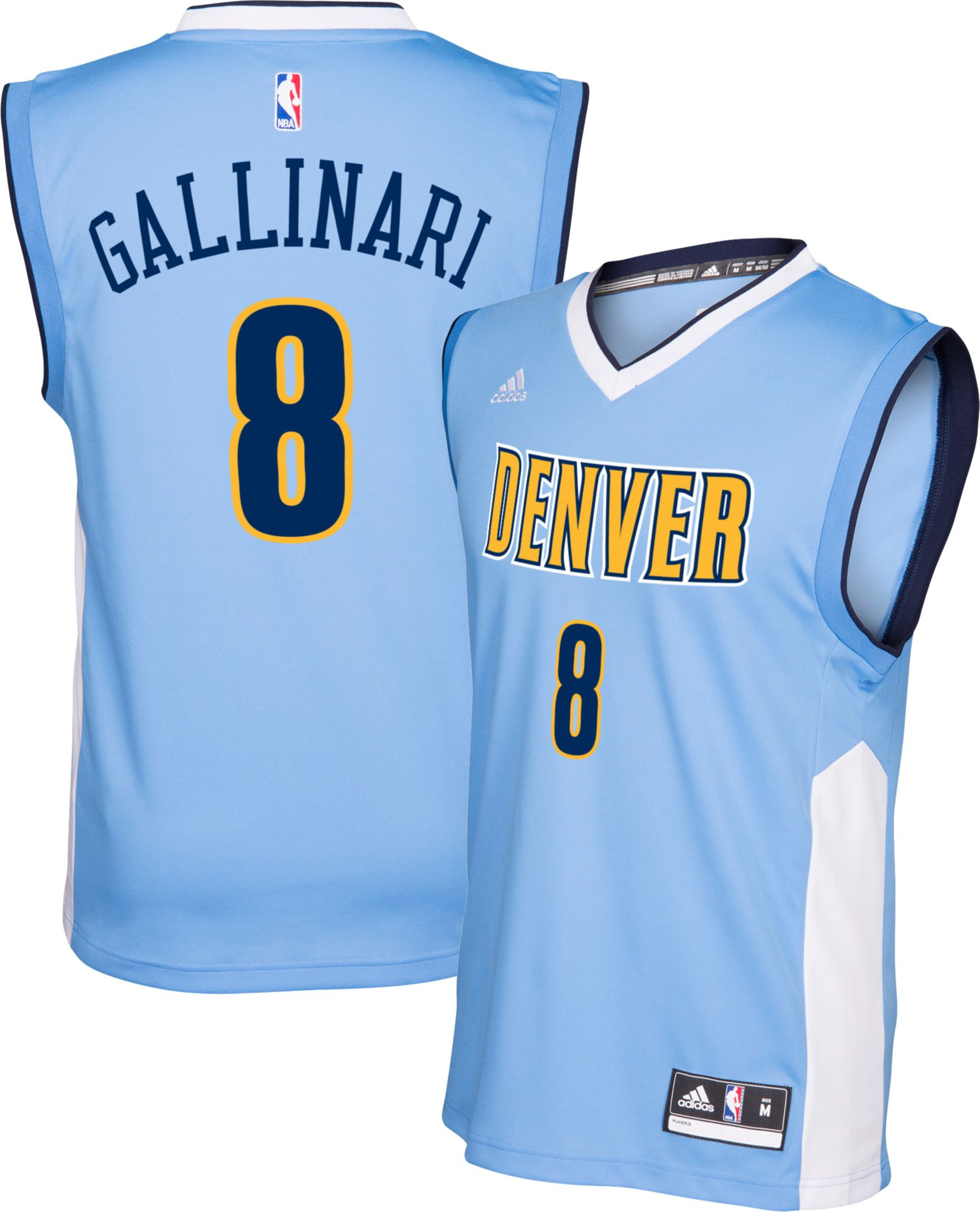 ... adidas Mens Denver Nuggets Danilo Gallinari 8 Road Light Blue Replica  Jersey. 60a7cf13a