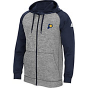 adidas Men's Indiana Pacers climawarm Team Issue Grey/Navy Full-Zip Hoodie