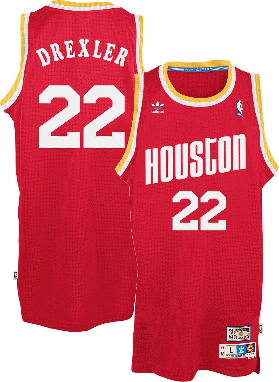 d4642debdc46 ... JERSEY BLACK adidas Originals Mens Houston Rockets Clyde Drexler 22 Red  .