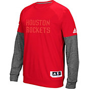 adidas Men's Houston Rockets On-Court Red/Grey Long Sleeve Shooting Shirt